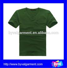 Wholesale bulk dark green v neck short sleeve mens plain tshirts promotional