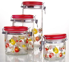 4pcs Oval Shape Custom Design Decal Glass Food Storage Container with Metal Clip Ceramic lid