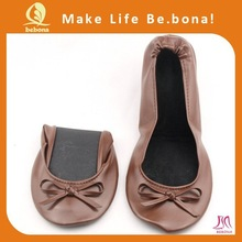 Dance shoes China ladies folding shoes wedding flat brawn fold up ballerina shoes in bag