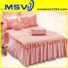 European style bed skirt,british style cotton bed skirt,home use pink cotton bed skirt