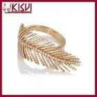 Fahion Leaf diamond platinum ring, Kisvi 925 Sterling Silver Jewelry Wholesale