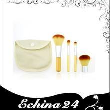 4Pcs Natural Bamboo Handle Cosmetics Powder Blush Makeup Brush Set