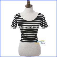 Chinese factory women striped t-shirt
