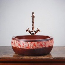 Chinese Jingdezhen classical red and brown flower pattern ceramic wash basins sink