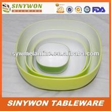 Imitação de porcelana dois tons de cor quadrado melamina tigela / tigela conjunto