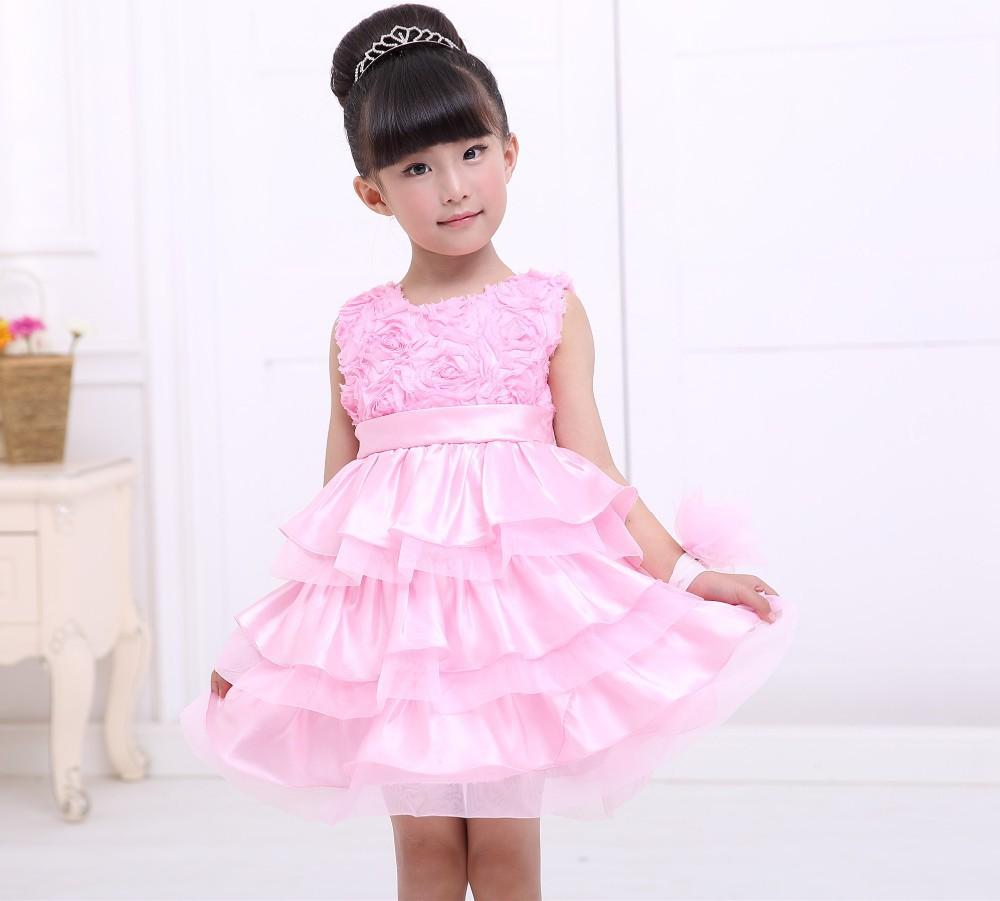 2015 Elegan Putri Gaun Gadis Lucu Kasual Baju Bayi Perempuan Gaun Kinerja Anak Anak Pesta Ulang