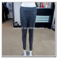 Ladies fashion grey cotton melange grey coarse knitted fabric pants 2015 Spring
