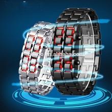 100pcs/lot Fashion LED Iron Watches Women's Lovers Bracelet New Men's Lava Style Iron Samurai LED Metal Watch Wholesale
