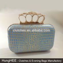 Blooming Floral Crystal Closure Light-BLUE PU Leather Crocodile Pattern Hard Shell Evening Clutch Handbags Purse