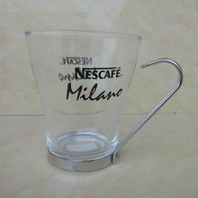Nestle coffee glass materil unique design high quality 250ml creative glass drinking cup nescafe mug