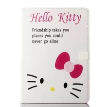 2015 New Design For iPad Air/iPad Mini Hello Kitty Case, For iPad Air 2 Kitty Cat Leather Case