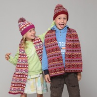 newly children mohair knitted hat scarf set