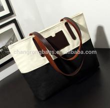 2015 heat sales white black canvas tote bag leather handle/white blue canvas shoulder bag,canvas handbag