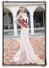Hot red diamods beaded peach chiffon strapless sweetheart neckline long Prom Dress GL0323
