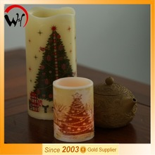 RoHS/CE/EMC Passed Real Wax Water Sticking Scented led artificial candle light