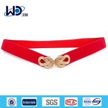 Hot red golden buckle elastic ladies belts