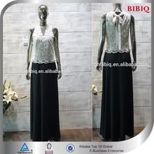 Black And White Sleeveless Lace Long dress