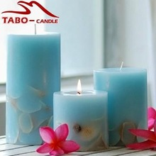 home decoration dry flower paraffin wax pillar candle