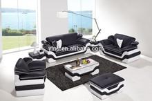 leather sofa black &white