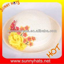 Children paper braid sun hat for wholesale with flower
