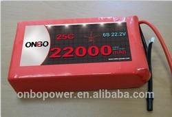 Onbo High capacity high discharge lipo 22000mAh 25C/50C 6S 22.2V DJI S900, S1000 lipo pack Octocopter,/hexacopter/UAV battery
