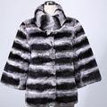 Phụ nữ áo khoác Rex lông thỏ thật thời trang màu đen trắng A28175 2015