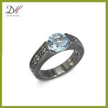 Daihe RN4683 black gold engagement jewelry fashion wedding ring with diamond