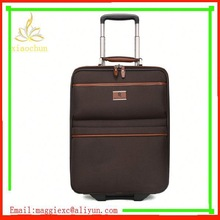 H1595 Hot sale trolley luggage, metal nylon luggage bags with leather bag