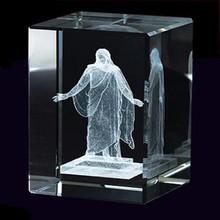 LDS Christus Crystal Cube 3D laser etched crystal rectangle block