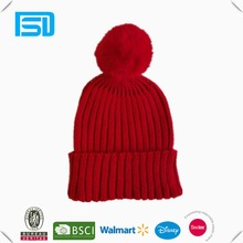 New Arrival ladies jacquard rabbit hair pom cuff knitting hat