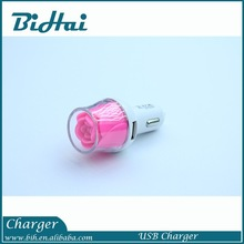 5V 2.1A rose flower dual usb car charger for tablet android