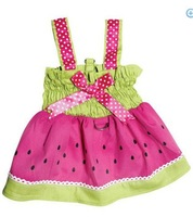 Pet Dog Dresses Juicy Watermelon Dog Sundress with Large D-ring for Easy Leash Attachment