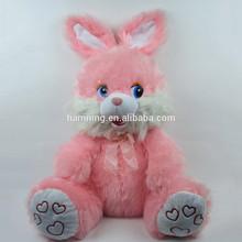 50cm sitting pink rabbit with ribbon plush toy