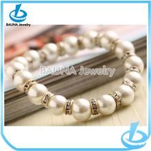 Hot sell rhinestone spacer elastic pearl bracelet