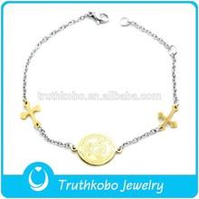 F-B0057 Sideways Cross Bracelet - Saints Accessories Small Cross Gold Fill Chain Religious Bracelet