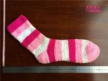 ZhuJi China Hot Sale Wholesale OEM Service Women Gender Indoor Sock Fashion Warm Socks For Cold Feet Stripe Women Fuzzy Sock