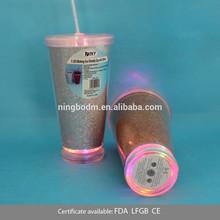 450ml double wall flashing surface plastic freezer beer mug