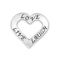lucky and beautiful zinc alloy antique silver plating heart shape Engraved word love live laugh charms jewelry