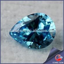 Pear shape aquamarine color shinning zirconia stone with high quality