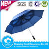 Polyester material and umbrella type double canopy promotion fiberglass frame China wholesale golf bag umbrella