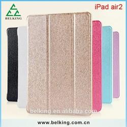 Silk Pattern Folding Leather Case For iPad6, For iPad Air2 PU Flip Folding Case