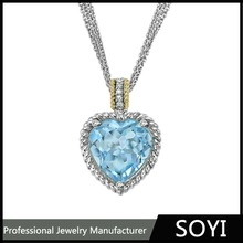 Promotional blue and white CZ stone silver pendant best price made in China