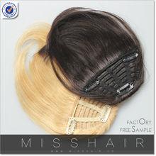 Clip in hair bang dark brown/blonde human hair wigs bangs