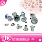 Crystal glass diamond silver rivet for clothing