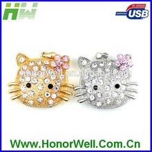 Metal Diamond Jewelry Smile Cat Face Usb Flash Drive Disk Stick Drive