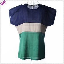 Colorful matching Short sleeve fancy ladies tops latest design