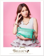 with double zip genuine leather wrist strap bag