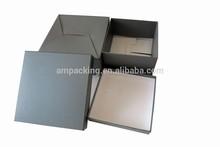 hot sale design solid black corrugated set up wine box with flat folding base