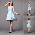 saucy estilo strapless vestido de noite curto barato por atacado sexy china azul claro cor cintura babados design simples menina prom
