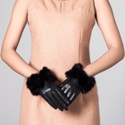 Fashion Smartphone Touch Women Sheep Leather Dress Gloves With Rabbit Fur